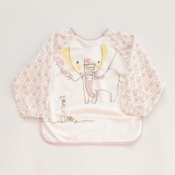 Elephant Forest Smock Bib - Purple