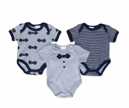 Bow Tie Short Sleeve Baby Bodysuit - 3 pack