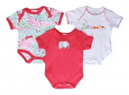 Short Sleeve Baby Bodysuit 3 pack - Elephant