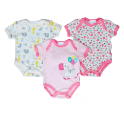 Short Sleeve Baby Bodysuit 3 pack - Zebra
