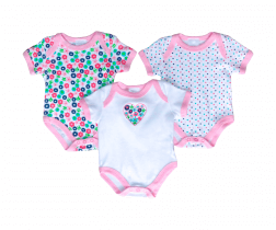 Short Sleeve Baby Bodysuit 3 pack - Heart Flowers
