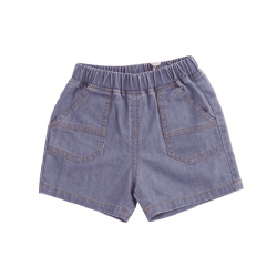 Blue Washed Denim Detailed Shorts