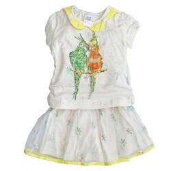 Two Piece T-Shirt & Skirt With Parrot Print