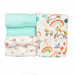 Swaddle Wraps - Green Unicorn - 3 Pack