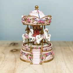 Musical Horse Carousel - Pink & Gold